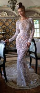Berta vintage illusion wedding dress with long sleeves