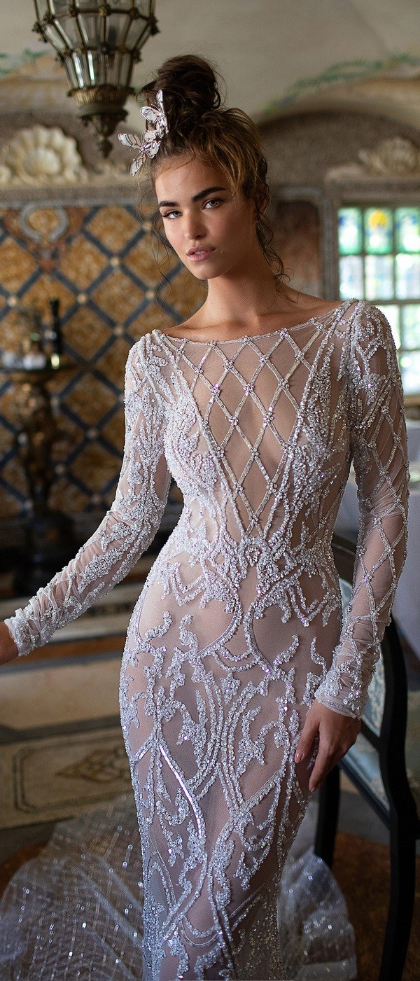 Berta vintage illusion wedding dress with long sleeves 2019 collection