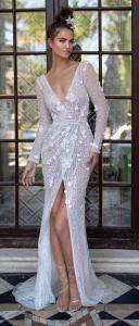 Berta vintage v neck floral wedding dress with long sleeves