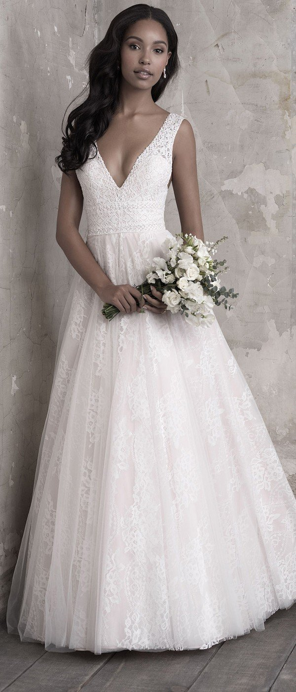 Madison James A line v neck wedding dress