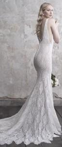 Madison James V neck lace wedding dress fall 2018 collection back details