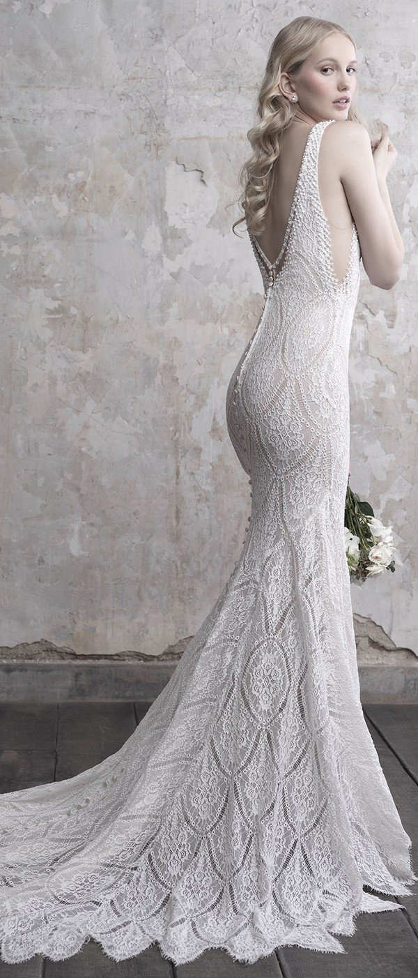 Madison James V neck lace wedding dress fall 2018 collection back details