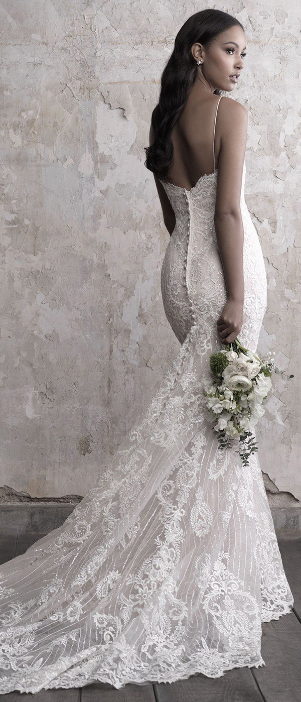 Madison James beaded sweat heart wedding dress 2018 fall collection back view