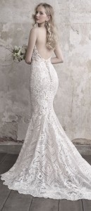Madison James beaded v neck shealth wedding dress with low back