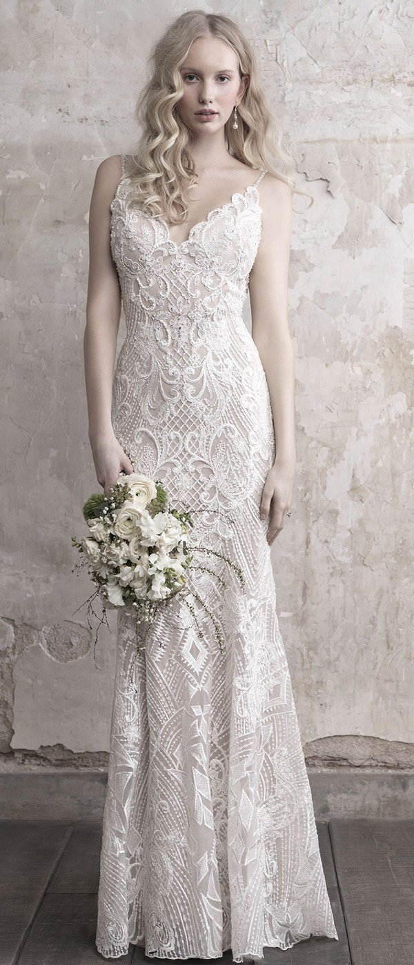 Madison James beaded v neck sheath wedding dress