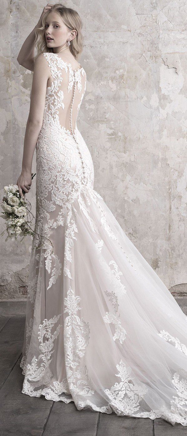 Madison James floral lace v neck wedding dress with illusion back