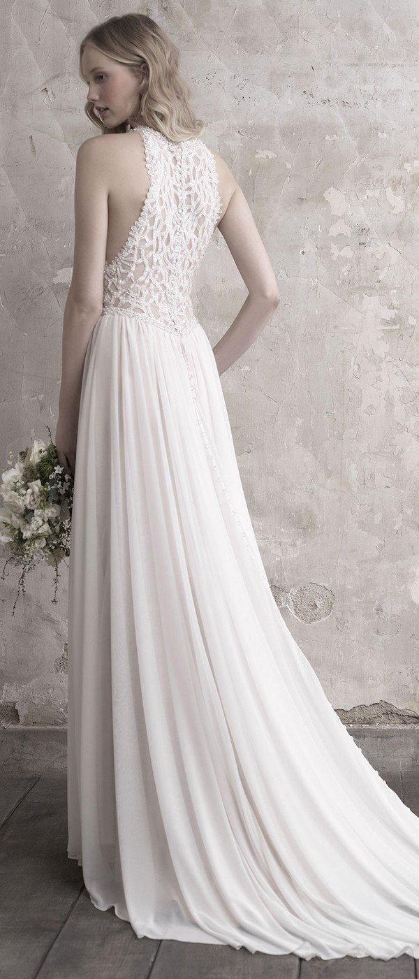 Madison James halter neckline beaded wedding dress back view
