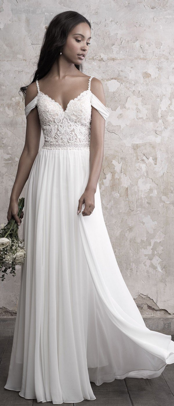 Madison James lace and chiffon off the shoulder wedding dress
