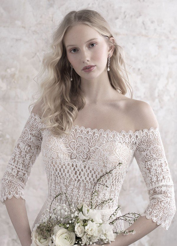 Madison James off the shoulder lace wedding dress with sleeves details
