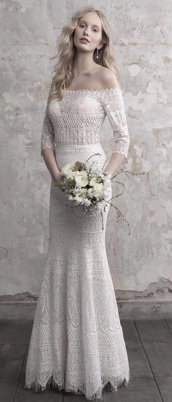 Madison James off the shoulder lace wedding dress with sleeves