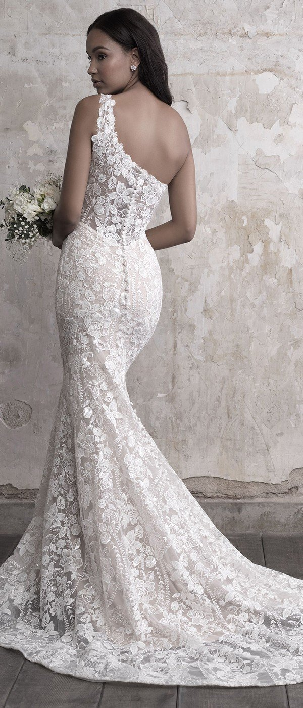 Madison James one shoulder lace wedding dress back view