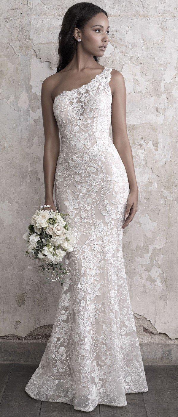 Madison James one shoulder lace wedding dress