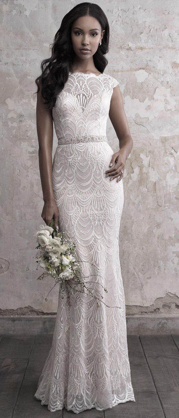 Madison James sequined lace sheath wedding dress