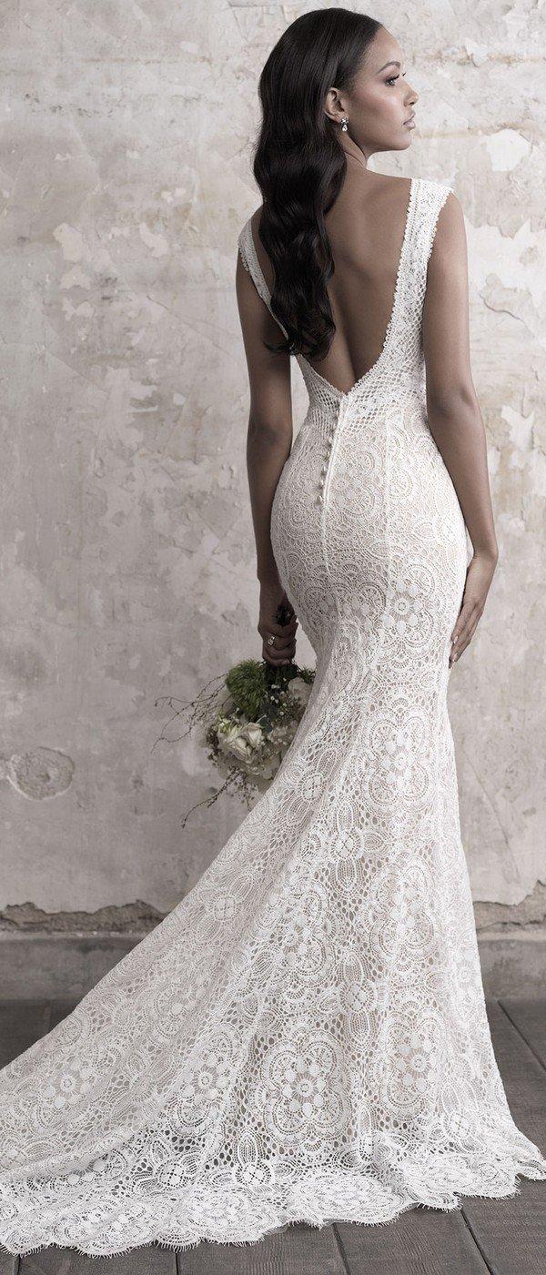 Madison James sleeveless v neck lace wedding dress with open back