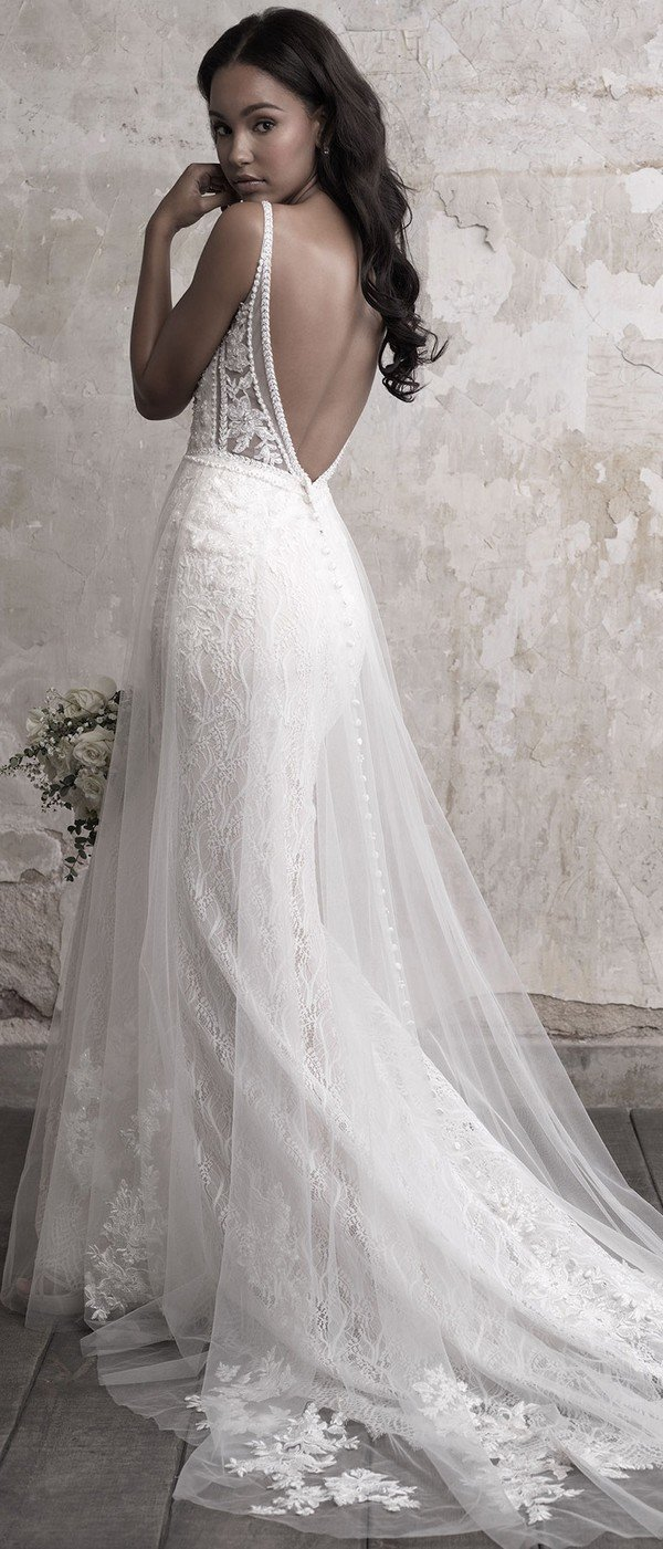 Madison James tulle overlaid a line wedding dress with low back