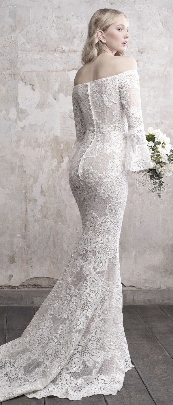 Madison James vintage off the shoulder floral lace wedding dress with long sleeves back view