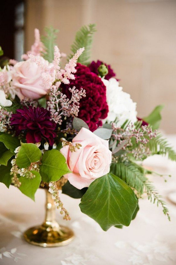 blush and burgundy fall wedding centerpiece for 2018