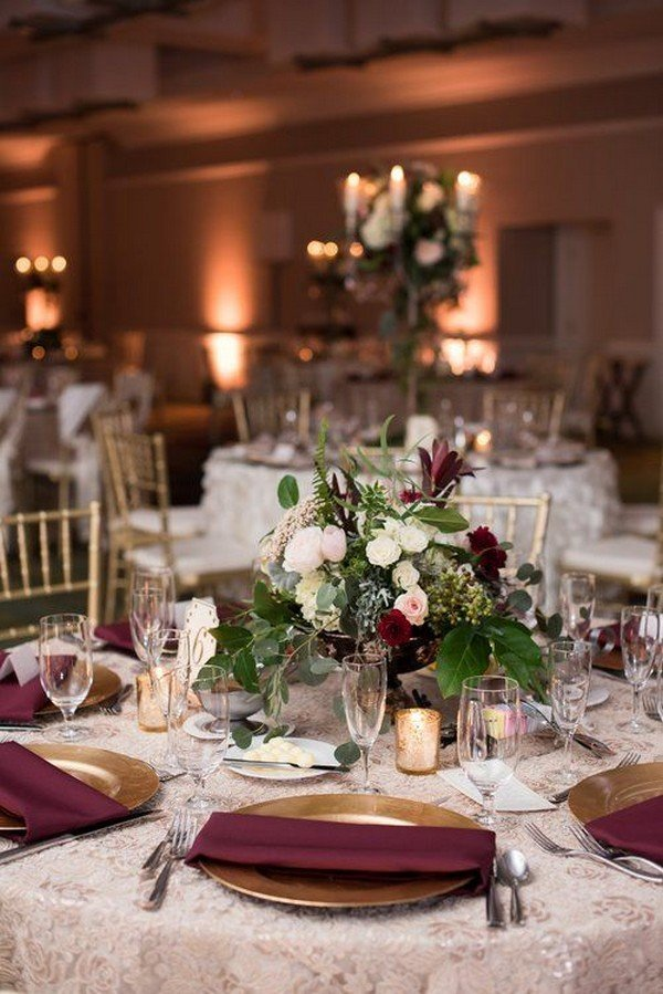 burgundy and gold fall wedding centerpiece ideas