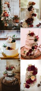burgundy fall wedding cakes for 2018 trends