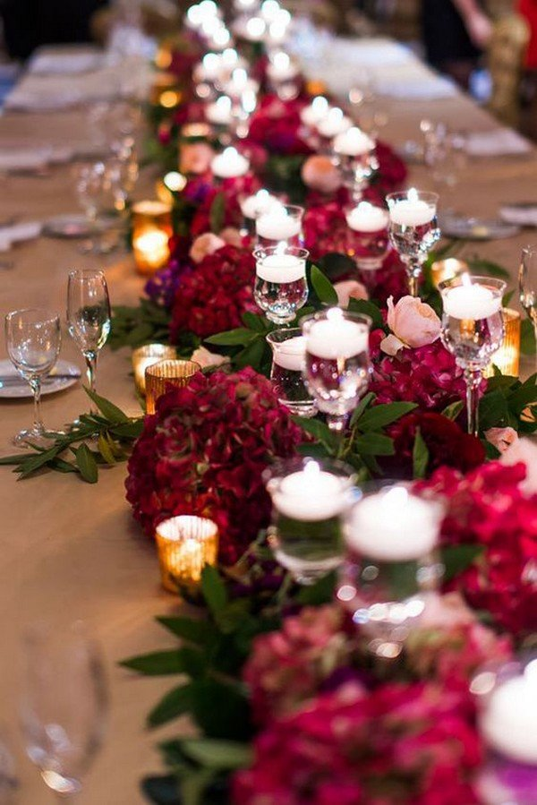burgundy long table wedding centerpiece ideas for fall
