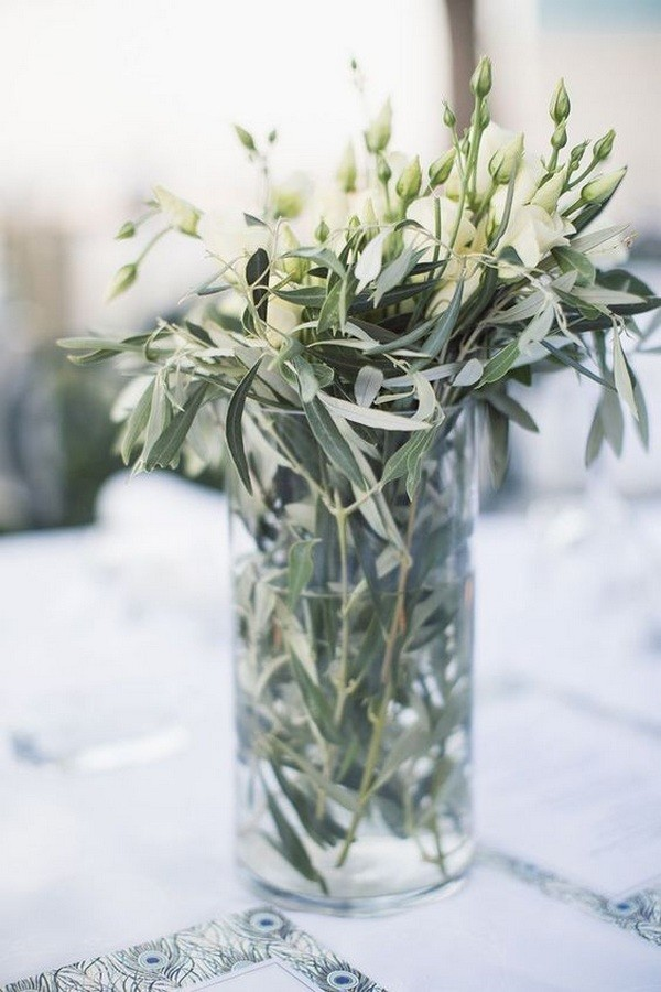 chic modern olive branch wedding centerpieces
