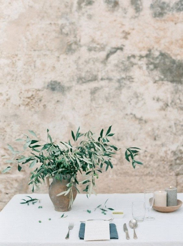 chic olive branch greenery wedding centerpiece