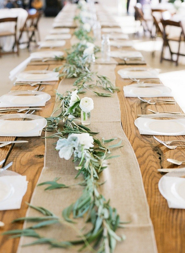 chic rustic wedding table settings with burlap and olive branch
