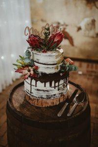 chocolate dripped chic rustic fall wedding cake