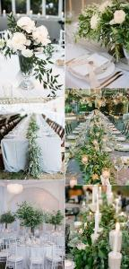 elegant olive branch greenery wedding centerpieces