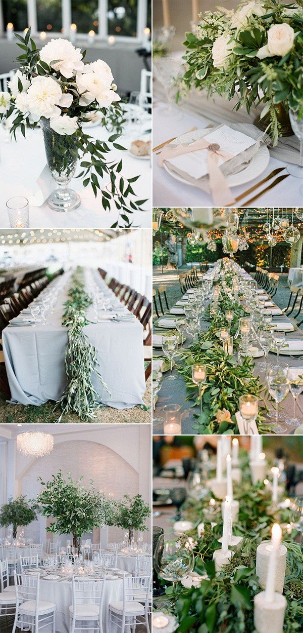 elegant olive branch greenery wedding centerpieces