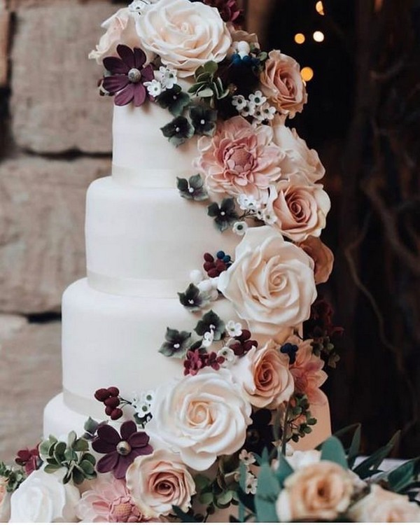 flower decorated fall wedding cake ideas