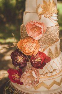 glittery gold fall wedding cake