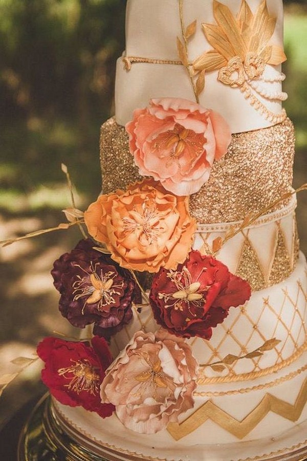 glittery gold fall wedding cake