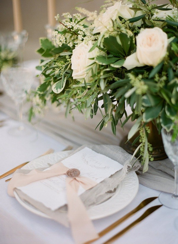 Trending elegant olive branch wedding centerpieces