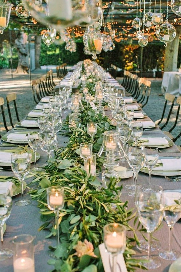 greenery wedding reception decorations with olive branch