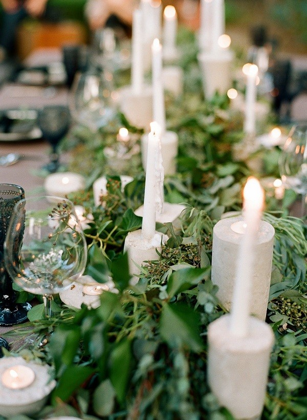 greenery wedding table settings with olive branch
