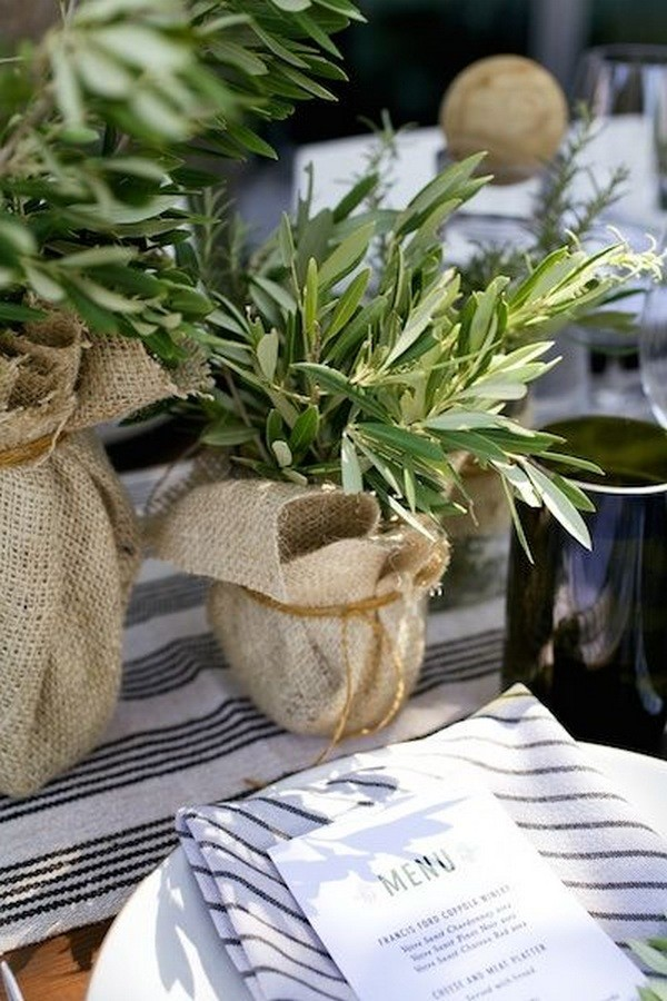 rustic olive branch wedding centerpieces with burlap