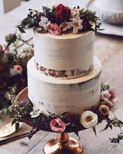 semi naked fall wedding cake ideas