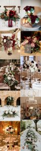 trending fall wedding centerpieces with burgundy color