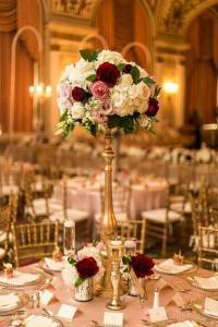 vintage burgundy tall wedding centerpiece for fall 2018