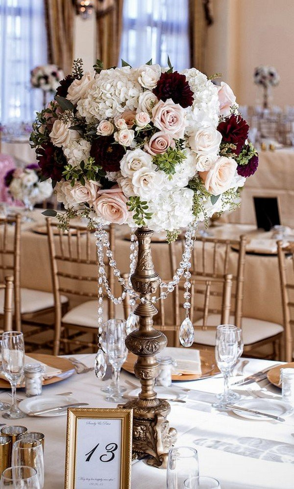vintage burgundy tall wedding centerpiece for fall