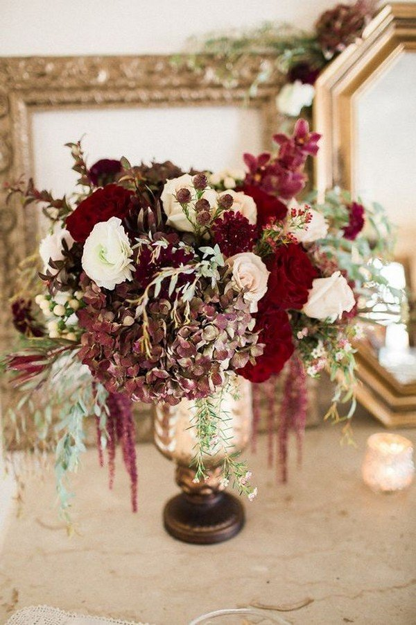 vintage burgundy wedding centerpiece for fall