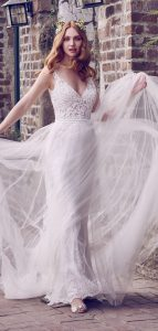 Maggie Sottero boho style v neck wedding dress with tulle cover