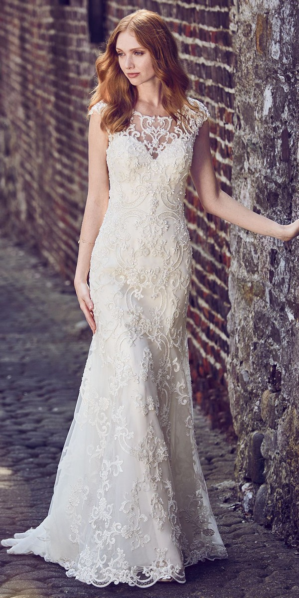 Maggie Sottero lace wedding dress with cap sleeves