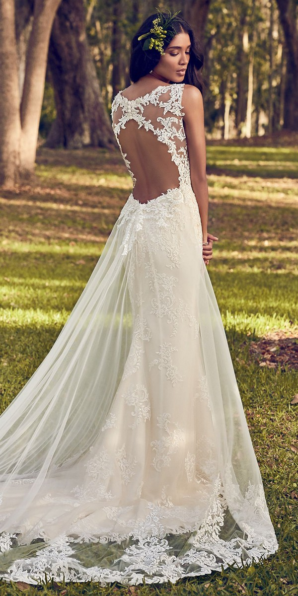 Maggie Sottero lace wedding dress with keyhole back