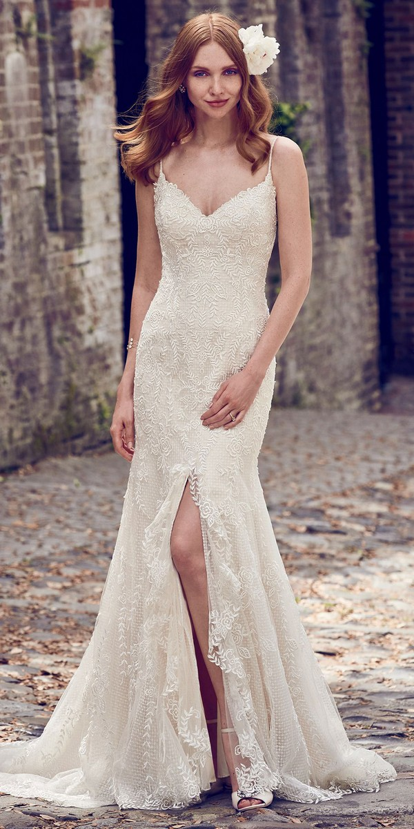 Maggie Sottero lace wedding dress with spaghetti straps