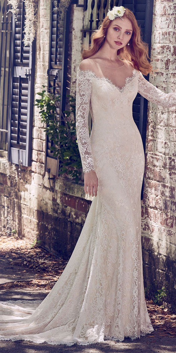 Maggie Sottero off the shoulder long sleeves wedding dress