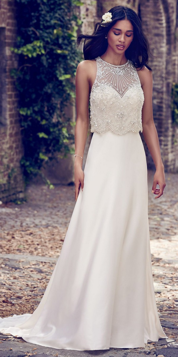 Maggie Sottero sleeveless beaded vintage wedding gown