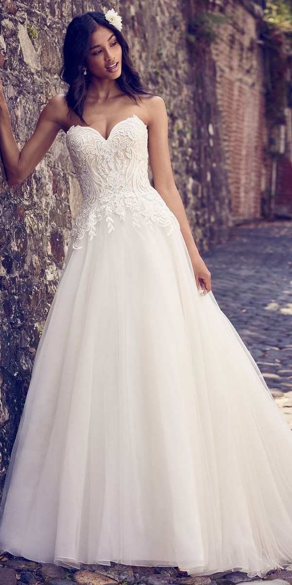 Maggie Sottero sweet strapless lace wedding dress