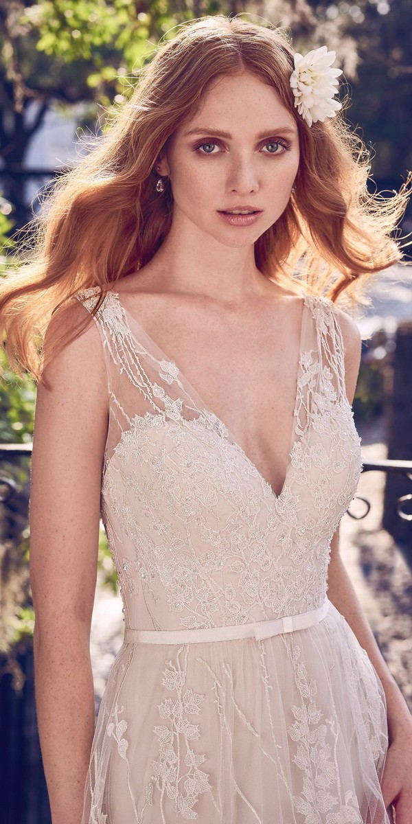 Maggie Sottero v neck lace beaded wedding dress